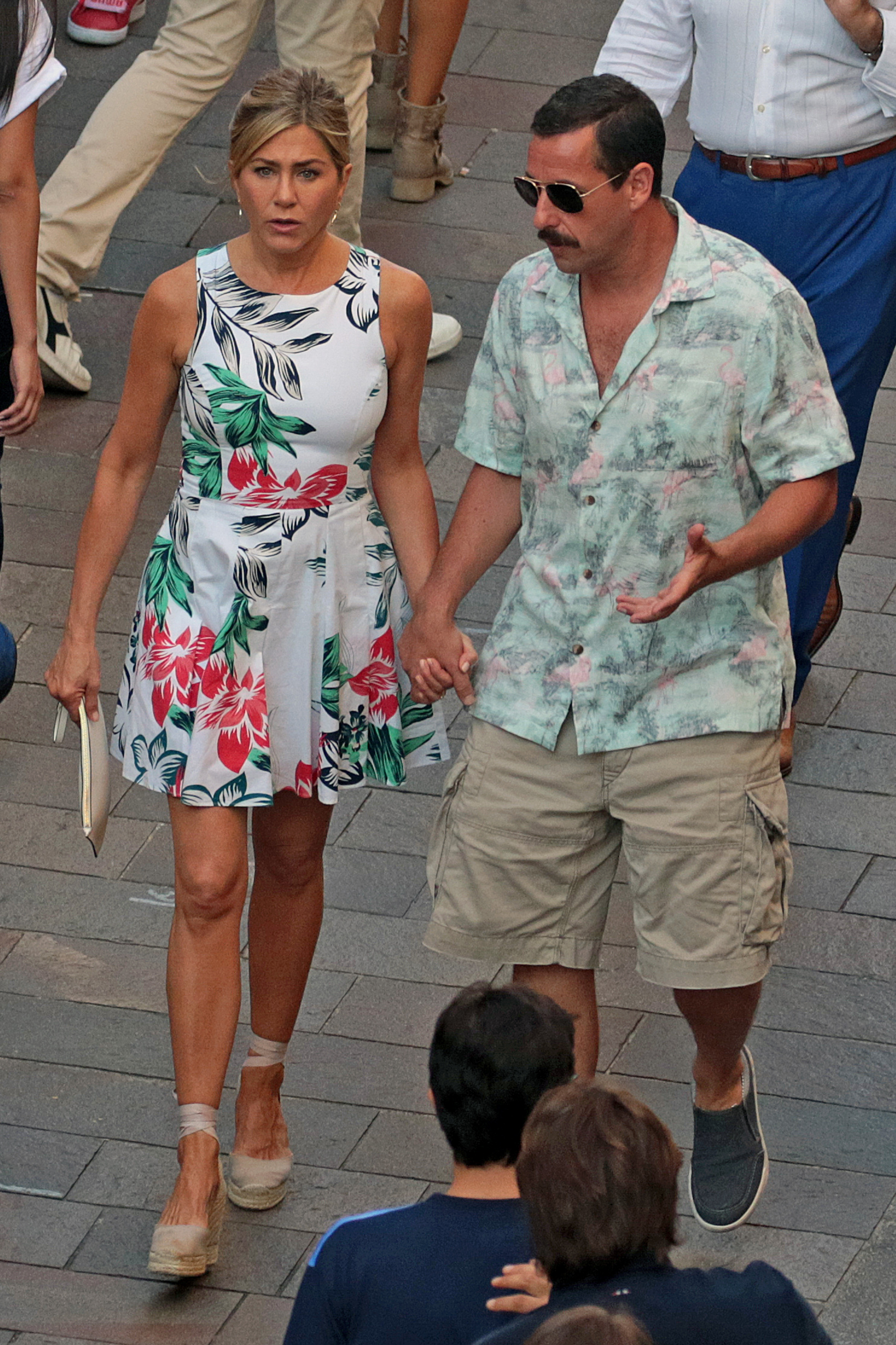 Jennifer Aniston and Adam Sandler spotted on the set of Murder Mystery in Milan