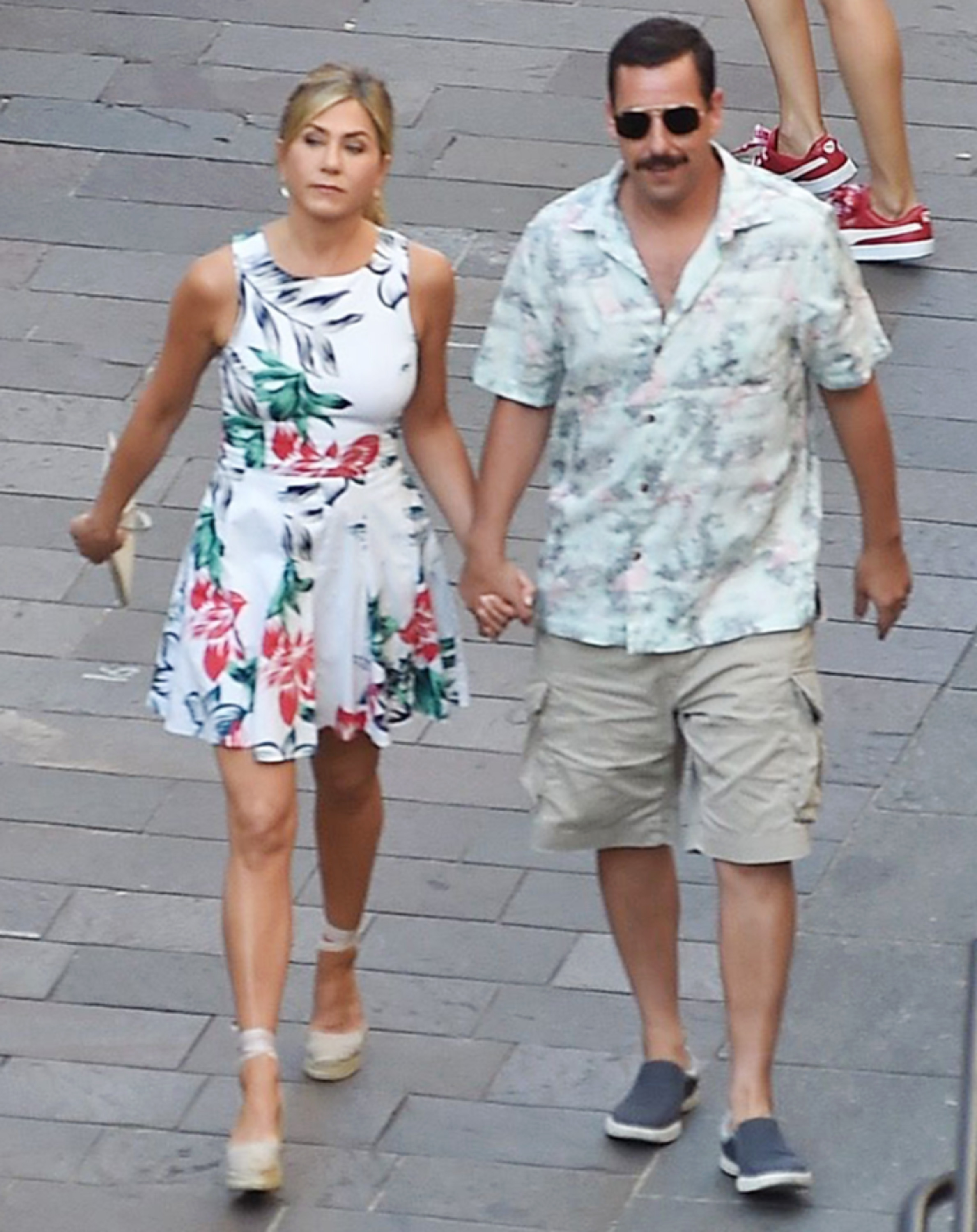 Jennifer Aniston And Adam Sandler Are Seen Filming Scenes For Their New Film In Milan
