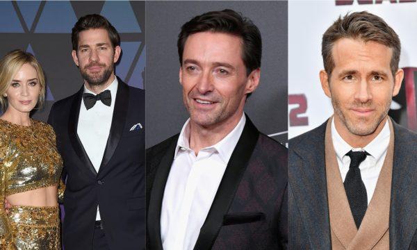 John Krasinski puxa orelha de Hugh Jackman por foto 'à vontade' com Emily Blunt, e Ryan Reynolds não perdoa!
