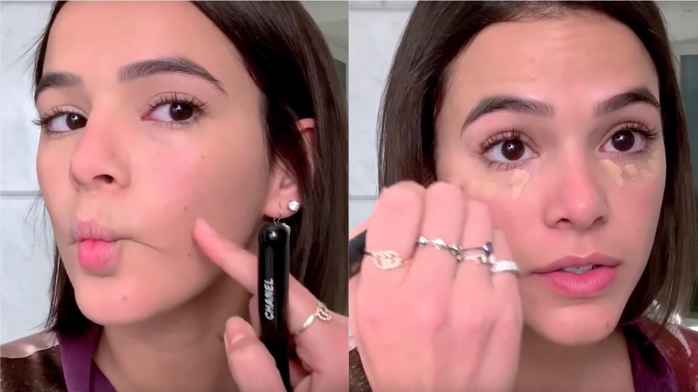 Bruna fez até biquinho no tutorial de maquiagem da Vogue! (Foto   Reprodução YouTube) 7da8c9b42e