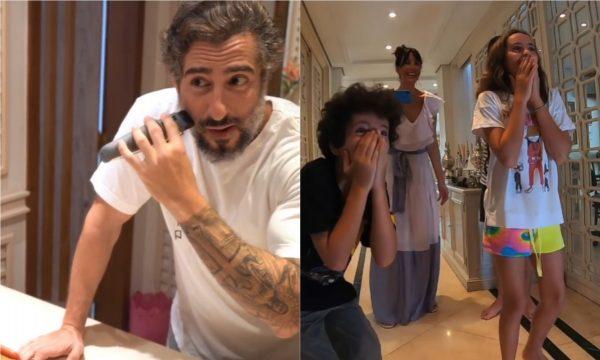 Marcos Mion tira a barba e surpreende filhos com resultado: 'É outra pessoa!'