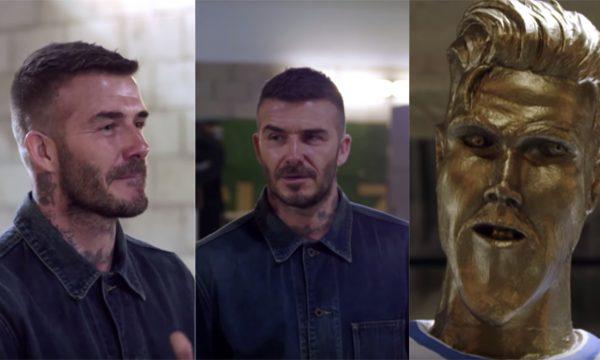 """Em pegadinha ÉPICA, David Beckham fica chocado e irritado com estátua em sua homenagem: """"Olha a minha bunda!"""" — assista ao vídeo!"""