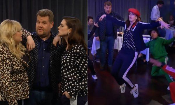 """Anne Hathaway briga com Rebel Wilson para ser """"BFF"""" de James Corden, e arrasa com rap em cena hilária; assista"""