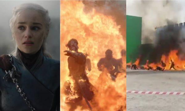 """""""Game of Thrones"""": Dublês pegam fogo nos bastidores do penúltimo episódio; assista ao vídeo impressionante!"""