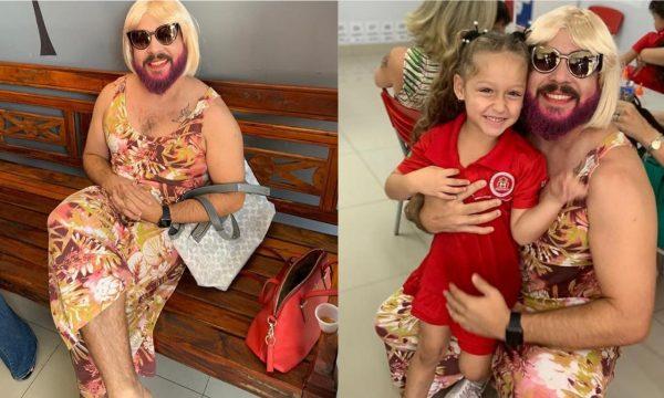 """Pai viúvo se veste de """"mãe"""" para alegrar a filha em celebração do """"Dia das Mães"""" na escola; vem ver!"""