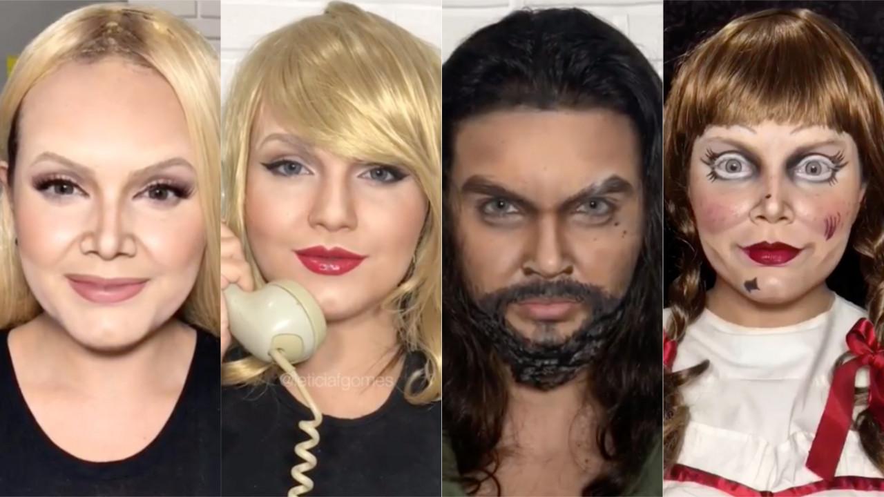Incrível! Brasileira se transforma em diversas celebridades e personagens apenas com maquiagem: Eliana, Taylor Swift, Jason Momoa, e Annabelle — confira!