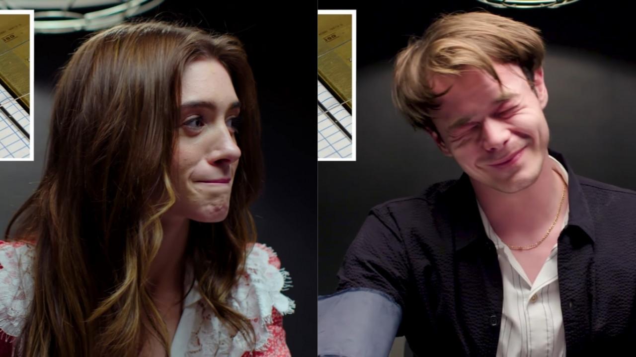 """Casalzão! Natalia Dyer e Charlie Heaton, de """"Stranger Things"""", revelam intimidades em entrevista com detector de mentiras; assista!"""