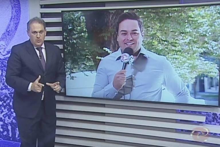 Após acusação de racismo, apresentador do SBT se manifesta ao vivo e pede desculpas a repórter que se demitiu: 'Absolutamente constrangido'