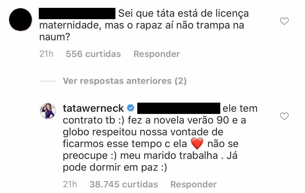 Fã critica Rafa Vitti e Tatá Werneck dá resposta inusitada: Confira