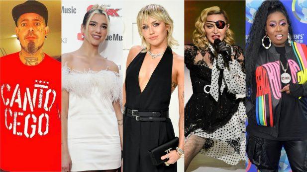 """Clipe perfeito de Miley Cyrus, parceria dançante de Dua Lipa, Madonna e Missy Elliott, e canção necessária dos Detonautas são destaques nos """"Lançamentos de Sexta""""; confira!"""
