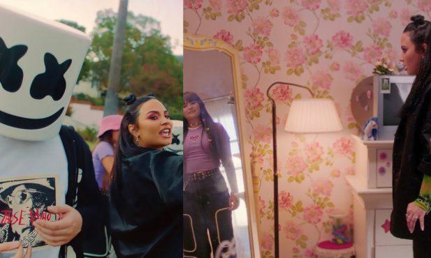 """Amamos! Demi Lovato fica frente a frente com sua versão mais jovem em clipe incrível de """"OK Not To Be OK"""", parceria com Marshmello; Vem assistir!"""