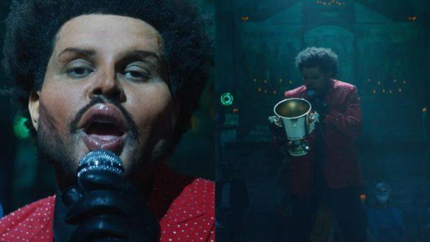 """OMG! The Weeknd exagera na """"harmonização facial"""" e manda shade para o Grammy no clipe PERFEITO de """"Save Your Tears"""" — assista!"""
