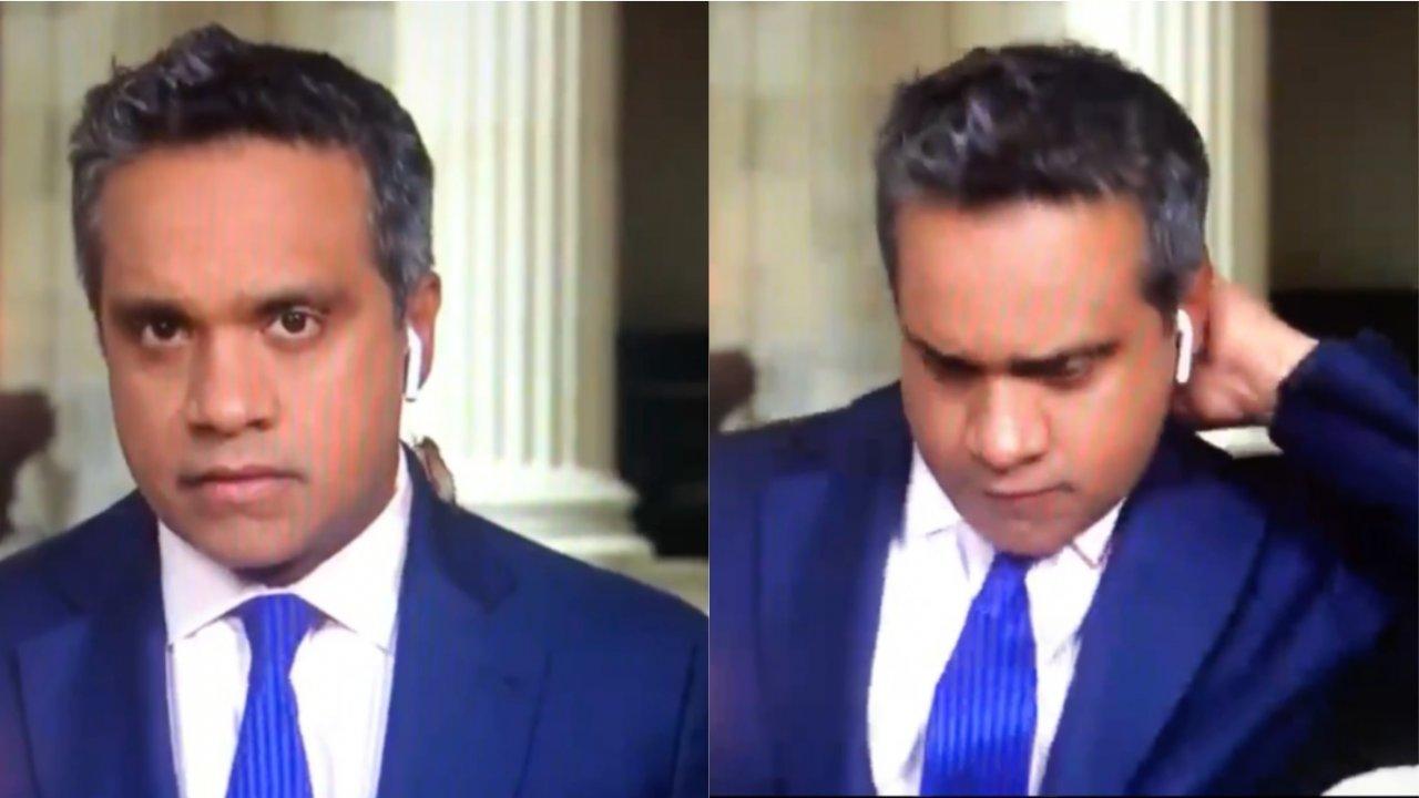 Repórter da CNN norte-americana se assusta com cigarra antes de entrada ao vivo e câmera filma xingamentos (Foto: Reprodução Twitter)