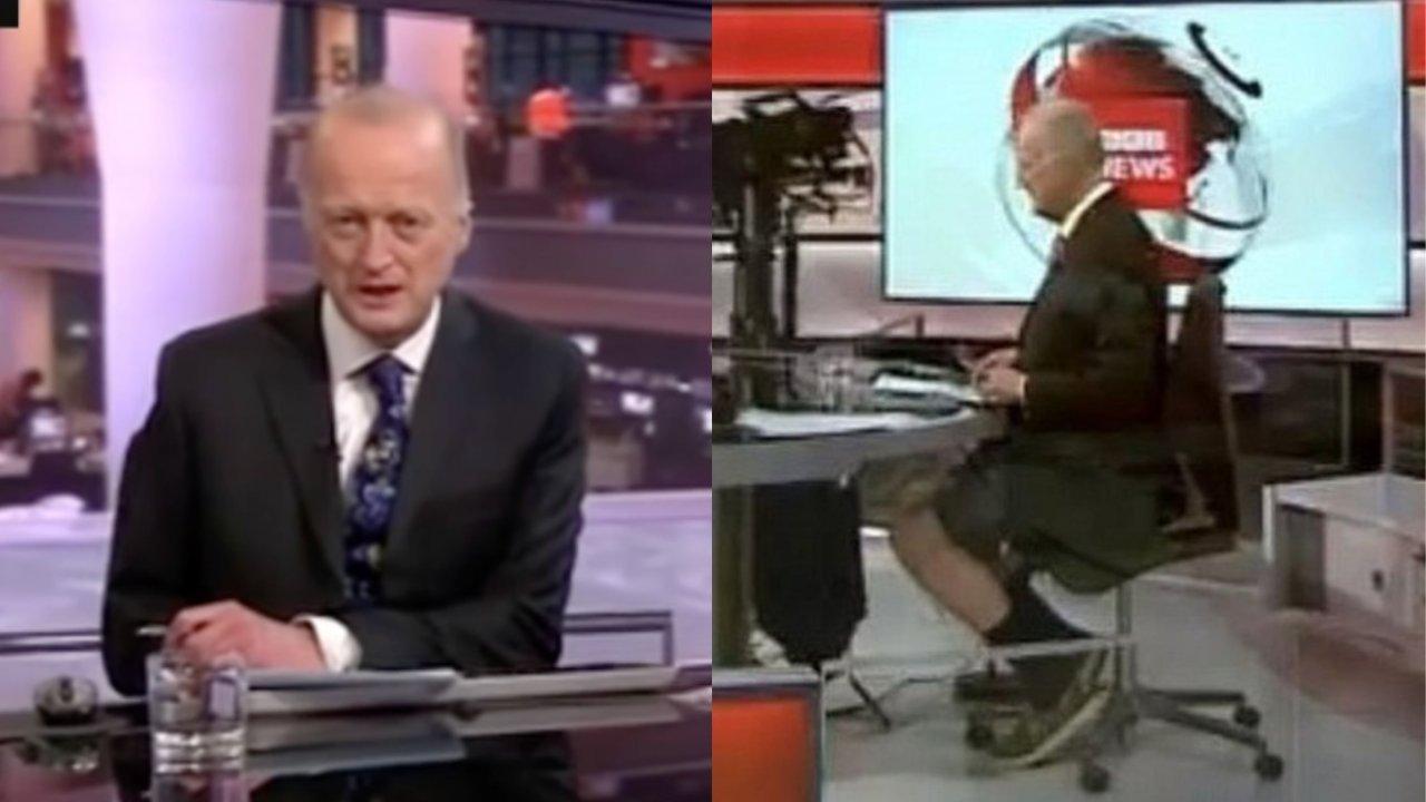 Jornalista da BBC britânica é flagrado usando bermuda - por baixo da bancada - durante jornal ao vivo (Foto: Reprodução YouTube)