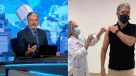 """William Bonner faz discurso certeiro no Jornal Nacional após tomar a vacina contra a Covid-19 e chama o SUS de """"gigante""""; assista! (Reprodução Twitter/Instagram)"""