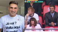 Gustavo Villani, narrador do SporTV, chama Ed Sheeran com Jason Mraz em transmissão ao vivo. (Foto: gustavo_villani/Reprodução/SporTV)