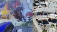Que perigo! Mulher alcoolizada bate em bomba de gasolina e causa incêndio na Califórnia. (Foto: Reprodução CBS)