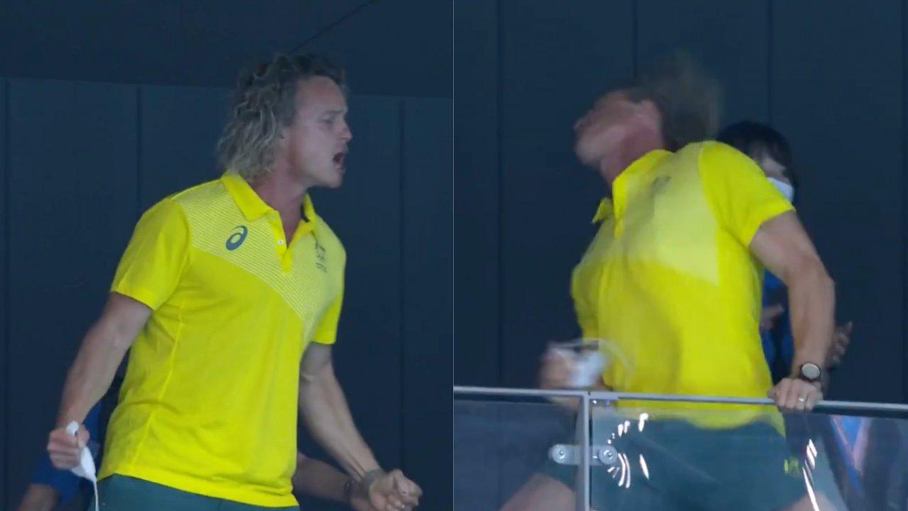 Técnico de australiana viraliza após comemoração inusitada após medalha de ouro. (Reprodução/TV Globo)