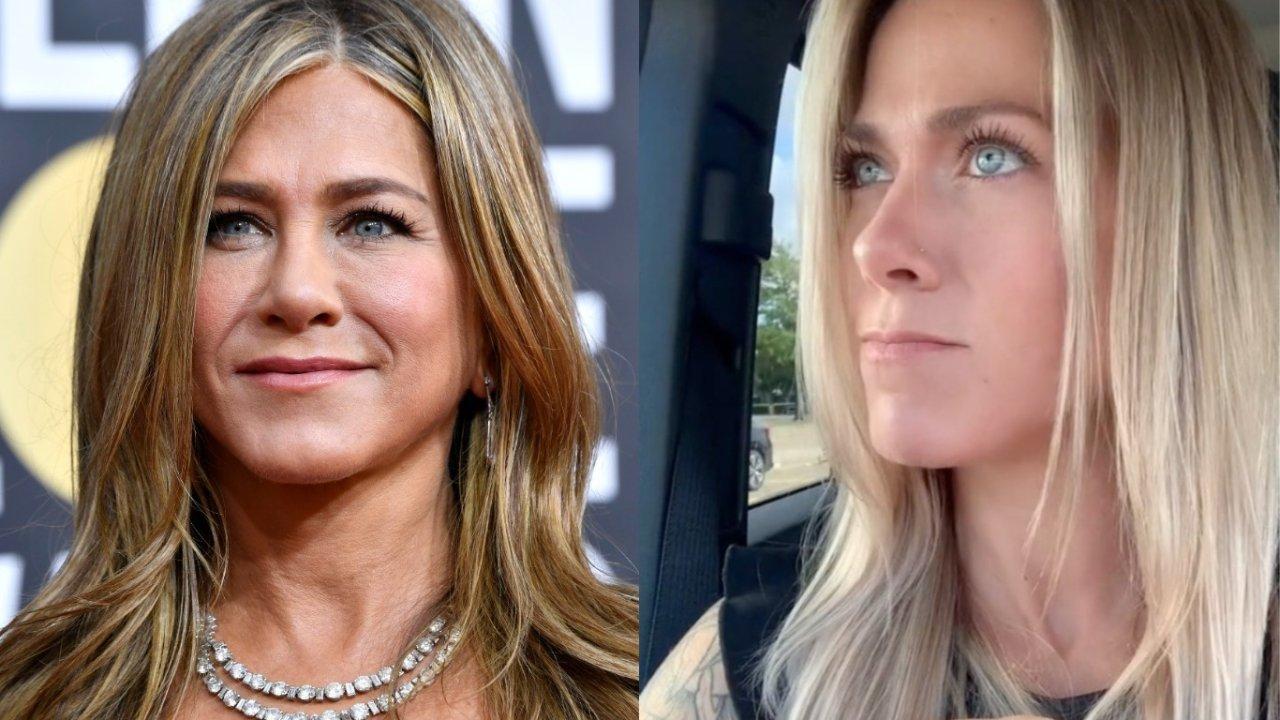 """TikToker viraliza por semelhança com Jennifer Aniston após dublar trecho de """"Friends"""". (Foto: Getty/Reprodução Tik Tok)"""