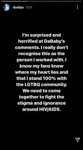 Dua Lipa Instagram Story Statement Dababy Rolling Loud Miami Homophobic Comments