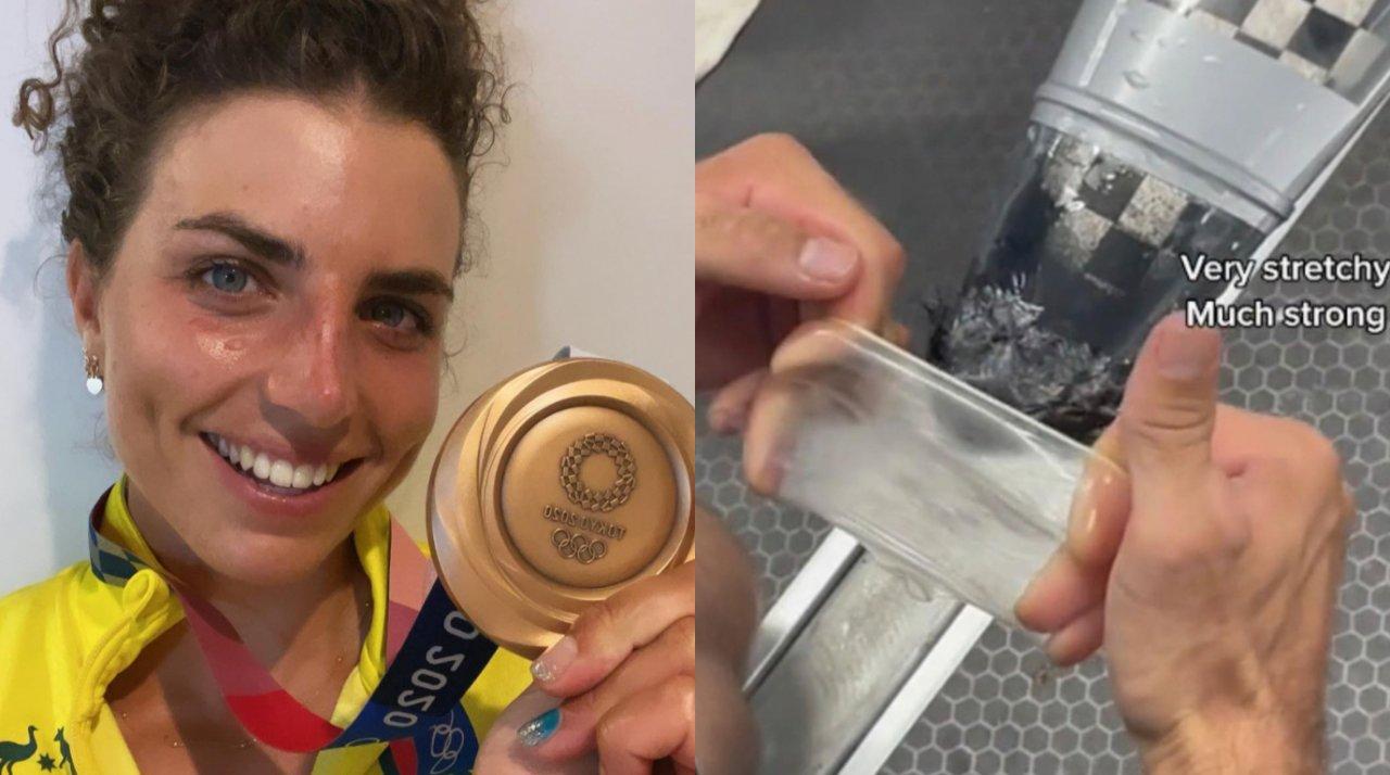 Medalhista australiana revela que improvisou camisinha para consertar caiaque. (Reprodução/Instagram)