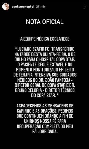 Sasha fala sobre o estado de saúde de Luciano Szafir (Foto: Reprodução/Instagram)
