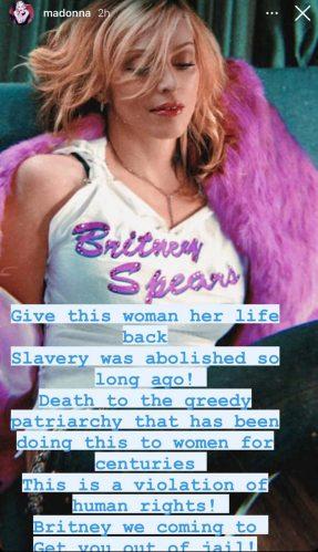 Imagem compartilhada por Madonna em apoio ao movimento #FreeBritney. (Foto: Reprodução/Instagram)