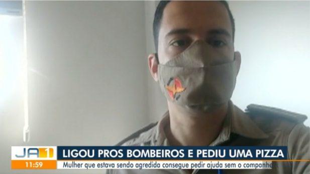 Tenente que atendeu a ocorrência gravou um depoimento para o telejornal. (Foto: Reprodução/Tv Anhanguera)