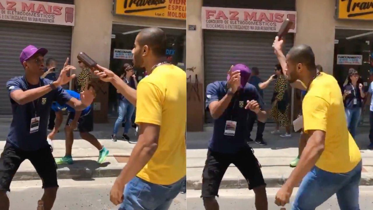 Vídeo de Lucarelli quebrando garrafa na cabeça de Alison dos Santos viraliza. (Reprodução/Twitter)