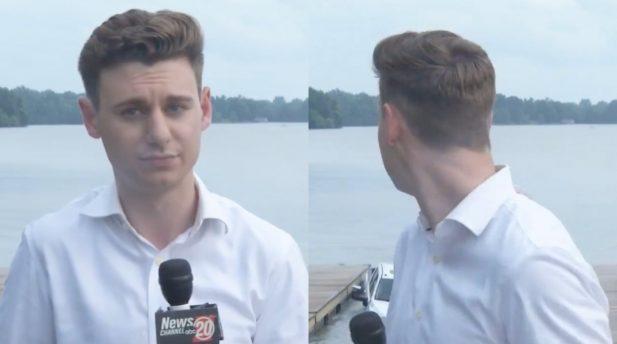 Repórter norte-americano é surpreendido por carro submergindo ao vivo. (Reprodução/Twitter)