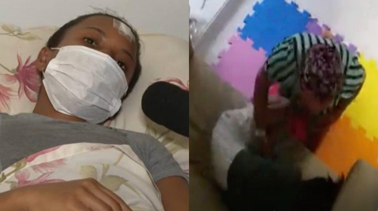 Imagens de câmera de segurança mostram babá sendo agredida pela ex-patroa em Salvador. (reprodução)
